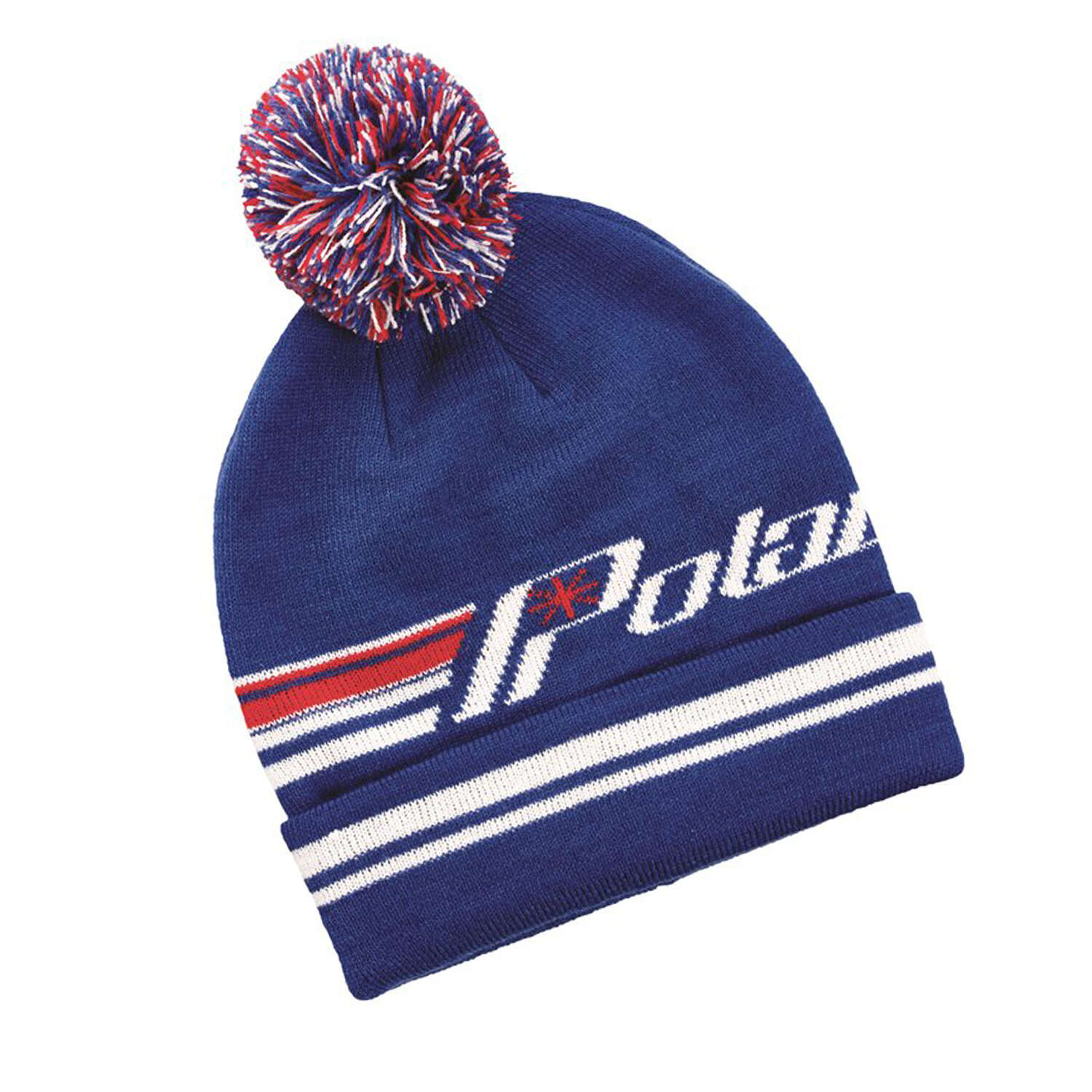 Unisex Knit Retro Cuff Beanie with Pom Pom, Blue