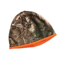Men's Fleece Reversible Camo Beanie, Camo/Blaze Orange