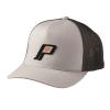 Men's Adjustable Mesh Snapback Hat with Retro Black Logo, Gray/Black - Image 1 of 1