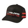 Unisex Adjustable Mesh Snapback Classic Racing Hat with White Logo, Black - Image 1 de 2