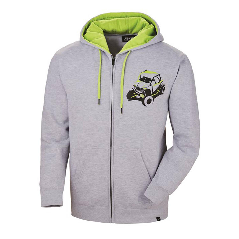 Men's Full-Zip Sketch Hoodie Sweatshirt with RZR® Graphic, Gray/Lime