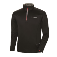 Men's Long-Sleeve Poly Tech Fleece Quarter-Zip Pullover with Slingshot® Logo, Black