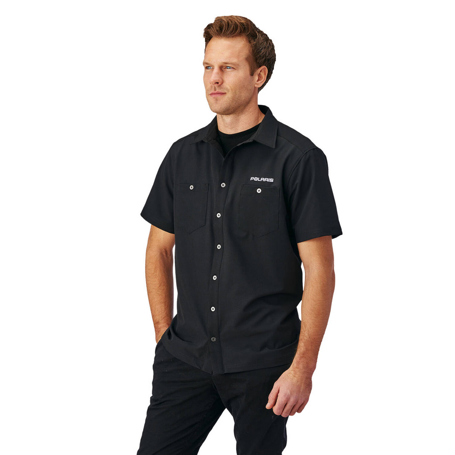 Men's Short-Sleeve Tech Pit Shirt with Logo, Black