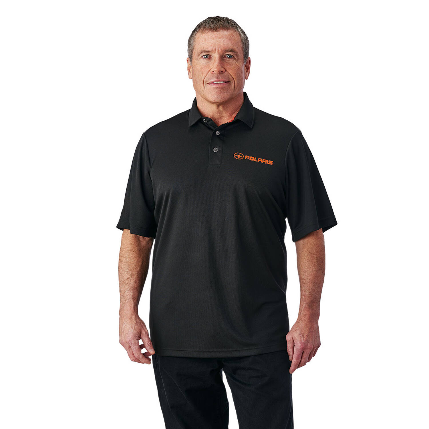 Men's Short-Sleeve Solid Tech Polo with Polaris® Logo, Black