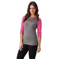Women's Baseball 3/4 Sleeve Tee - Gray/Pink