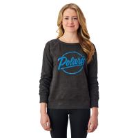Women's Crew Sweatshirt with Script Polaris® Logo, Charcoal