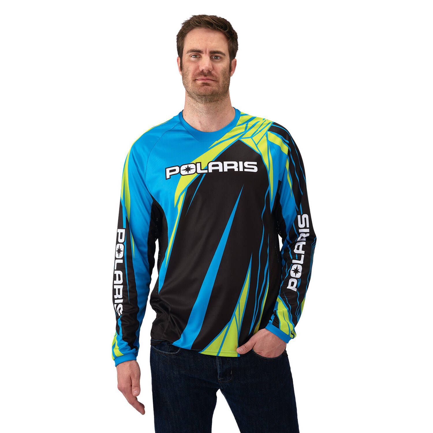 Off-Road Riding Jersey - Blue/Lime