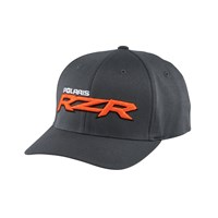 Men's (S/M) Flexfit Hat with Orange RZR® Logo, Gray
