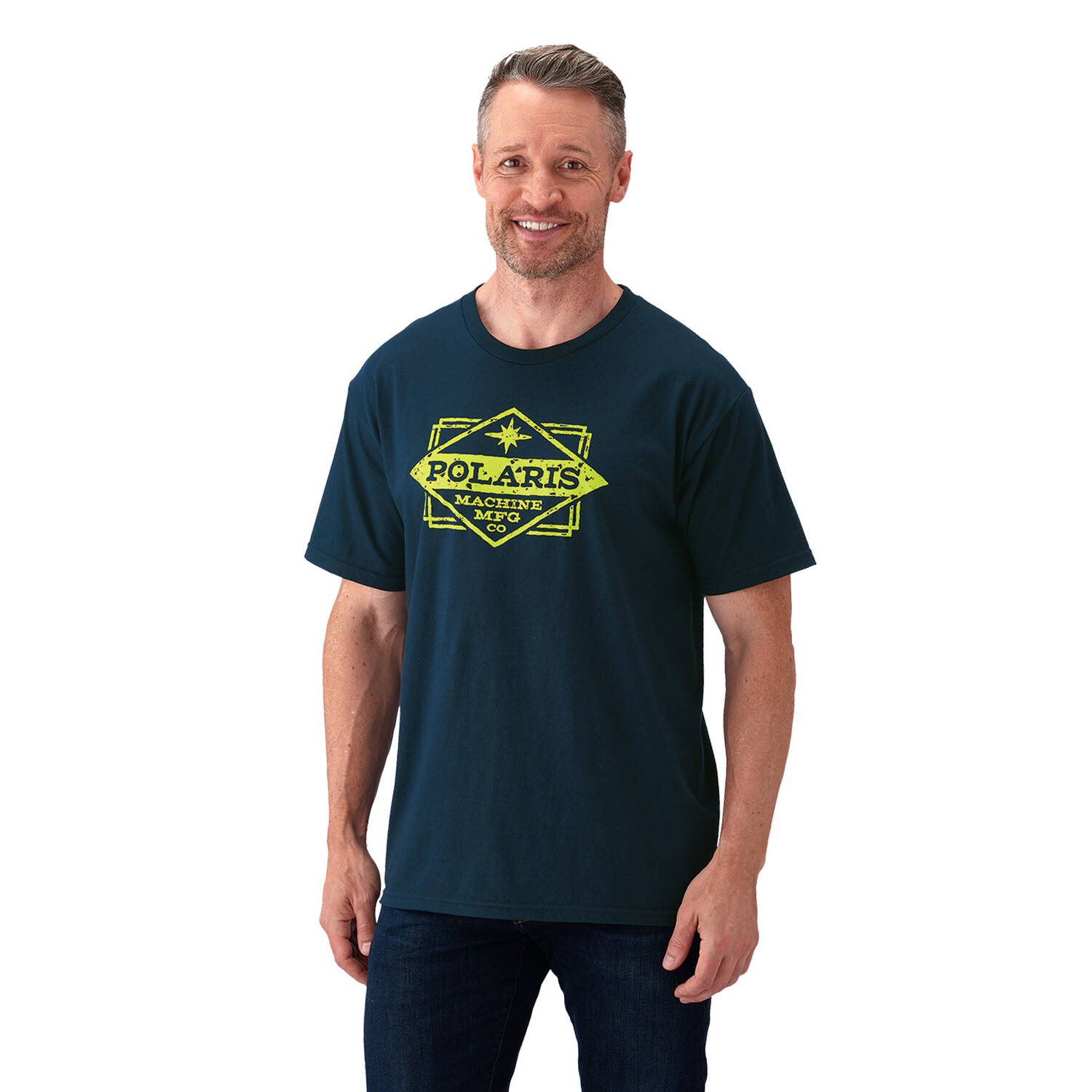 Men's Short-Sleeve Manufacturing Graphic Tee with Logo, Navy