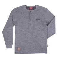 Men's Long-Sleeve Waffle Henley T-Shirt, Gray
