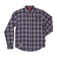 Men's Plaid Flannel Shirt, Gray/Black