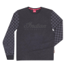 Men's Long-Sleeve T-Shirt with Checkered Sleeves, Black - Image 1 of 2