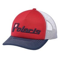 Men's Adjustable Mesh Snapback Hat with Retro Navy Ellipse Logo, Red