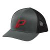 Men's Adjustable Mesh Snapback Hat with Retro Red Logo, Charcoal - Image 1 de 2