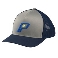 Men's Adjustable Mesh Snapback Hat with Retro Blue Logo, Navy