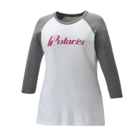 Women's 3/4 Sleeve Graphic Tee with Polaris® Logo, White/Gray