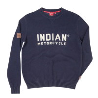 Men's Pull-Over Knit Sweater with Block Logo, Navy