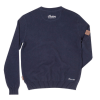 Men's Pull-Over Knit Sweater with Block Logo, Navy - Image 2 of 4