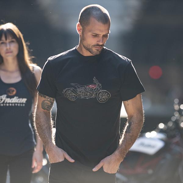 Men's FTR Bike Sketch T-Shirt, Black