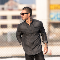 Men's Denim Shirt, Gray