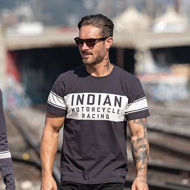 thumbnail 7 - Indian Motorcycle Men's Wrecking Crew T-Shirt with Stripe, Gray