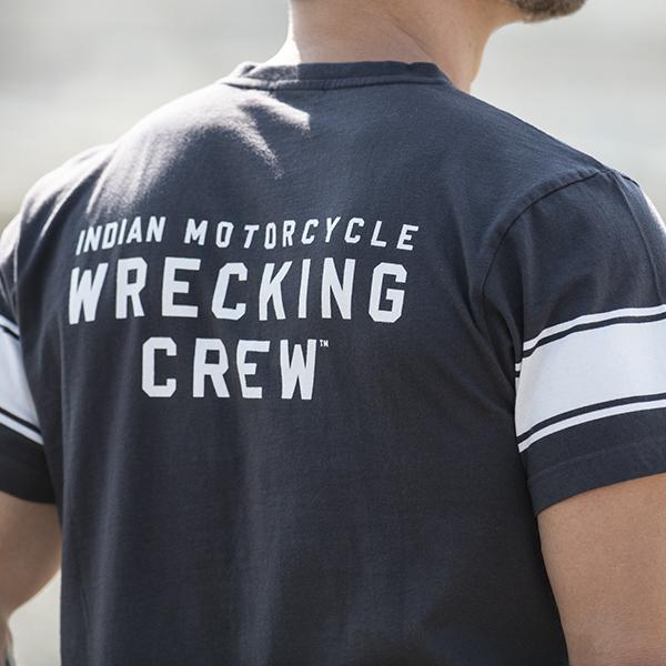 thumbnail 9 - Indian Motorcycle Men's Wrecking Crew T-Shirt with Stripe, Gray