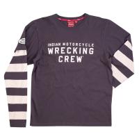 Men's Long-Sleeve Wrecking Crew T-Shirt with Stripe, Gray