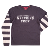 Men's Long-Sleeve Wrecking Crew T-Shirt with Stripe, Gray