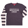 Men's Long-Sleeve Wrecking Crew T-Shirt with Stripe, Gray - Image 2 of 4