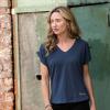 Women's T-Shirt with Ruched Shoulder, Blue - Image 1 de 4