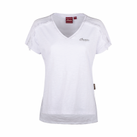 Women's T-Shirt with Laced Shoulder, White