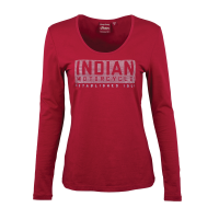 Women Long-Sleeve Logo T-Shirt with Diamantes, Red