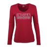 Women Long-Sleeve Logo T-Shirt with Diamantes, Red - Image 2 de 5