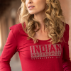 Women Long-Sleeve Logo T-Shirt with Diamantes, Red - Image 3 de 5