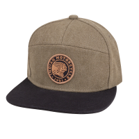 Flatbill Waxed Cotton Trucker Hat with Icon Logo, Khaki