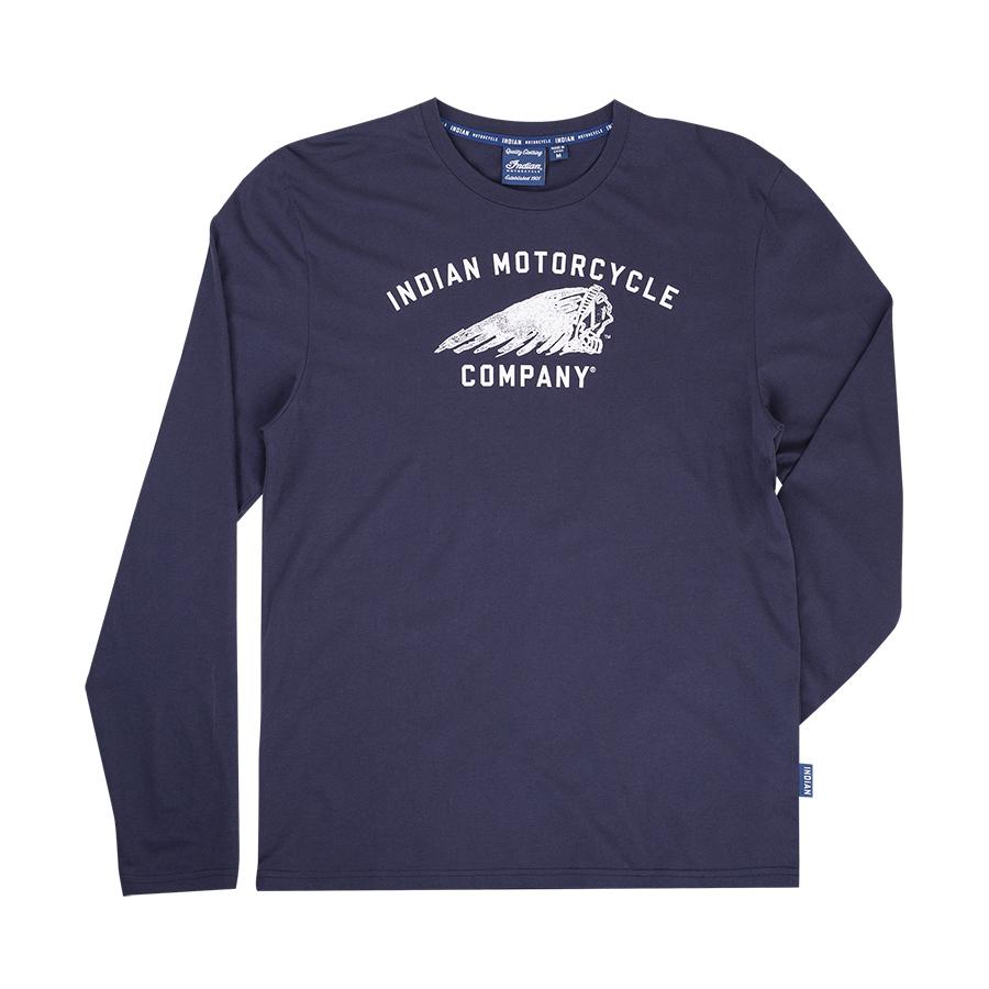 Men's Long-Sleeve Headdress Motif T-Shirt, Navy