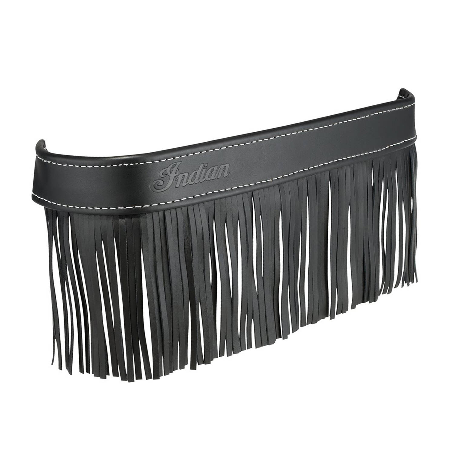 Genuine Leather Floorboard Trim With Fringe - Black