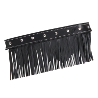 Genuine Leather Floorboard Trim With Fringe - Black w/ Studs