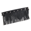 Genuine Leather Floorboard Trim With Fringe - Black w/ Studs - Image 1 of 1