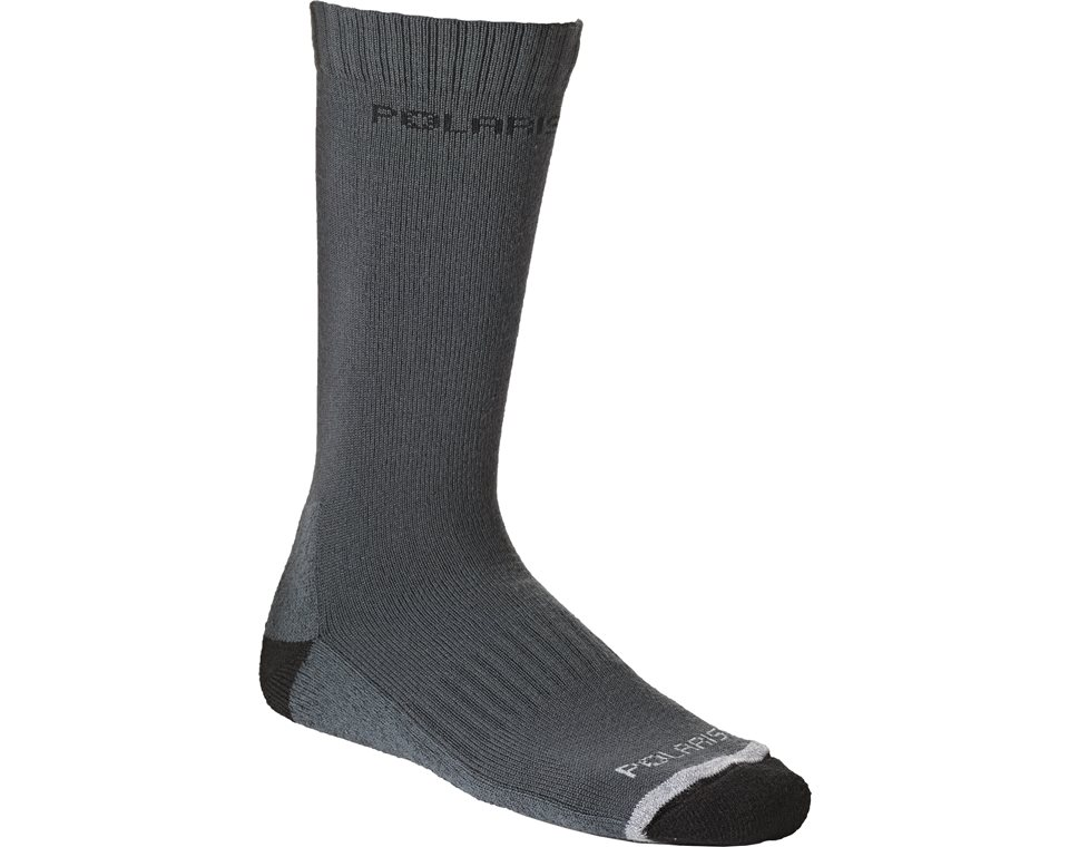 Unisex Calf-High Switchback Wool Sock, Gray