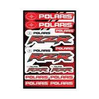 Laminate Sticker Sheet with Polaris® RZR® Logos, Red