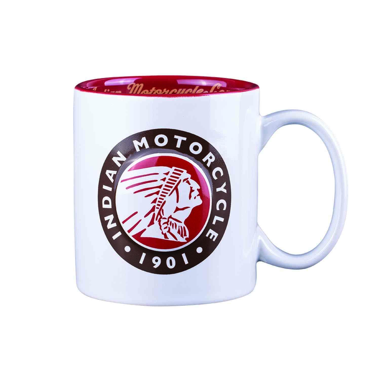 Classic Mug with Headdress Logo, White/Red