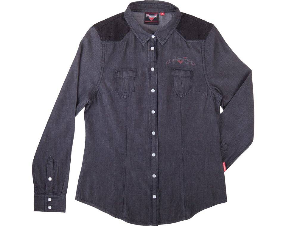 Women 39 s black chambray shirts black victory motorcycles for Chambray shirt women