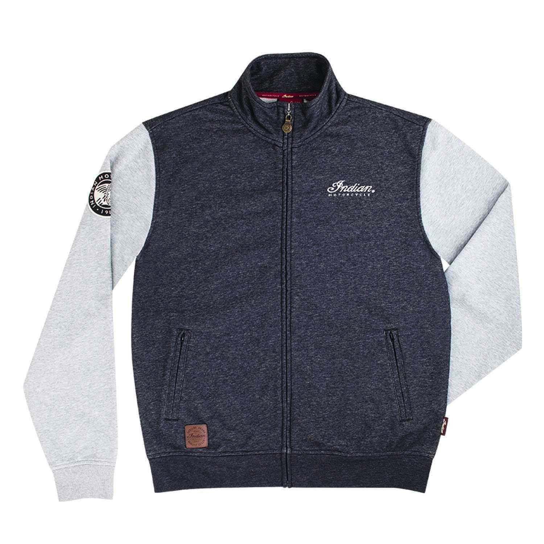 Men's Full-Zip Sweatshirt with Contrast Sleeves, Gray