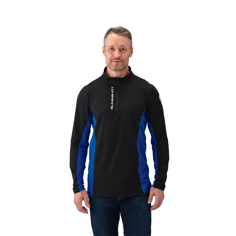Men's Long-Sleeve Poly Spandex Quarter-Zip Pullover with Slingshot® Logo, Black