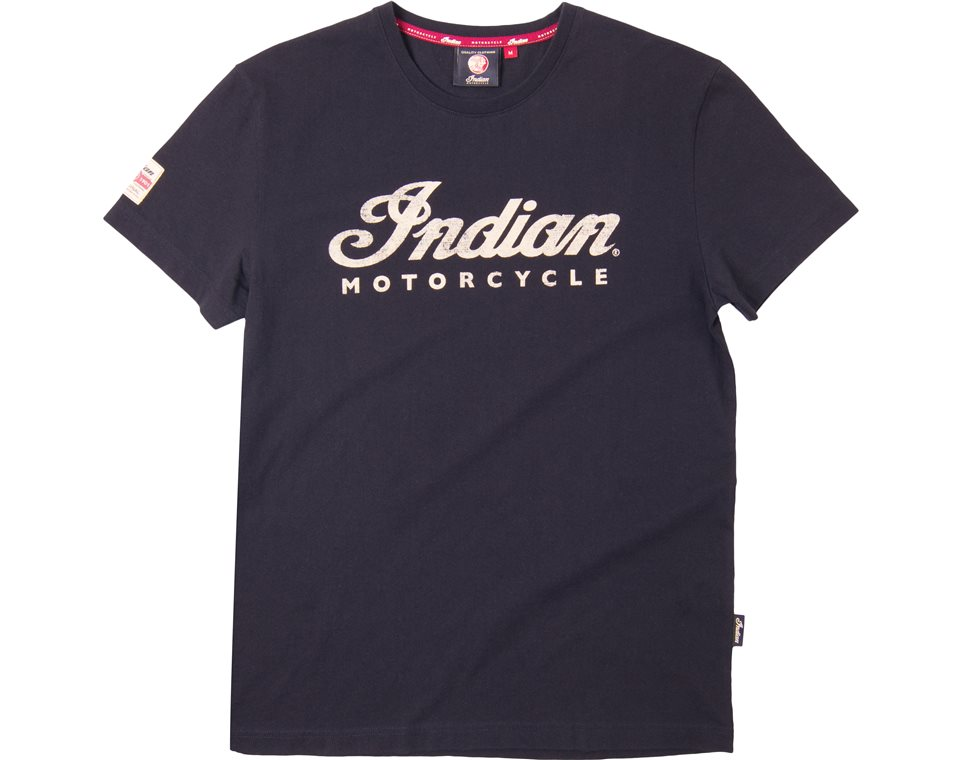 Indian Motorcycle Mens Long-Sleeve Script Logo T-Shirt Navy S