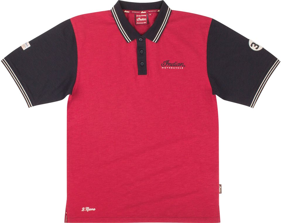 Mens munro polo red indian motorcycle for Polo shirts clearance sale