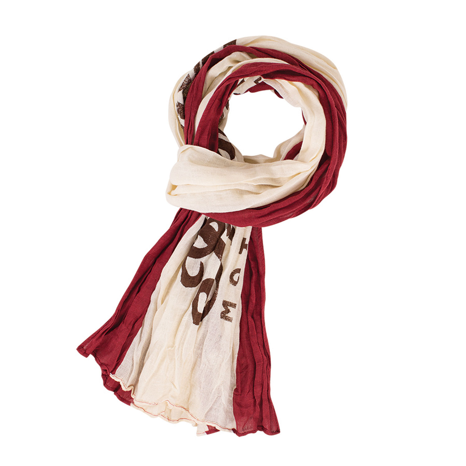 Lightweight Cotton Linen Scarf, Red/Cream