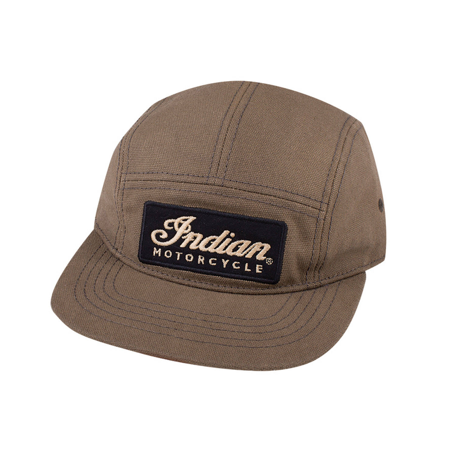 Flatbill Waxed Cotton Hat with Adjustable Leather Strap, Olive