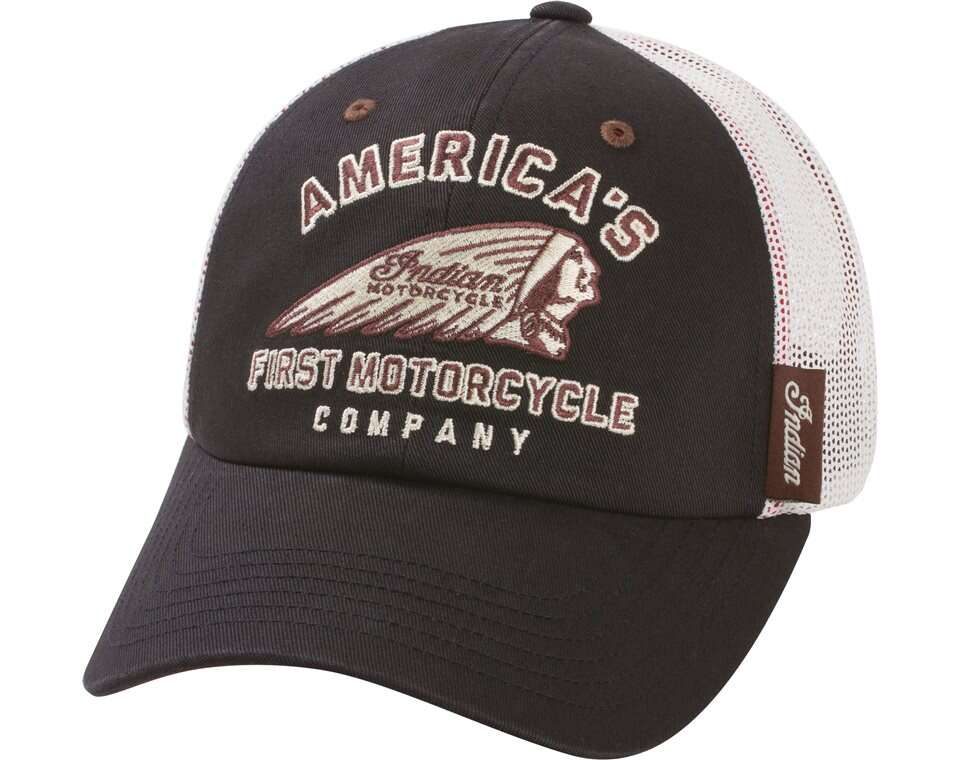 First Hat Black White Indian Motorcycle